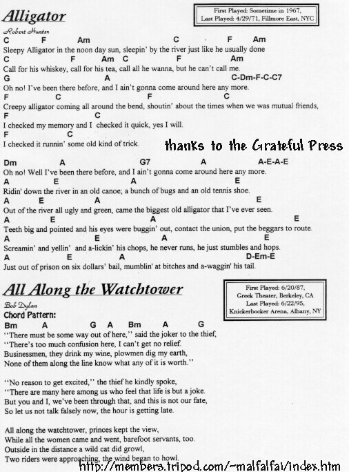 Grateful Ramblings-Grateful Dead Lyrics & Chord Database-Grateful ...