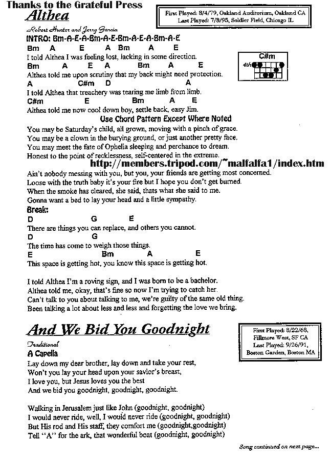 Lyric mary did u know lyrics : Grateful Dead Lyrics And Chords- Grateful Dead Words and Writings ...