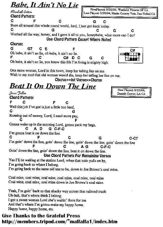 Lyric la la lie lyrics : Grateful Ramblings-Grateful Dead Lyrics & Chord Database-Grateful ...