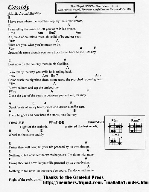 Grateful Ramblings Grateful Dead Lyrics Chord Database Grateful