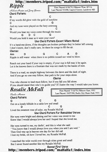 Grateful Dead Lyrics Ripple Chords