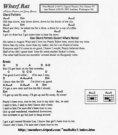 Grateful Ramblings-Grateful Dead Lyrics & Chord Database-Grateful ...